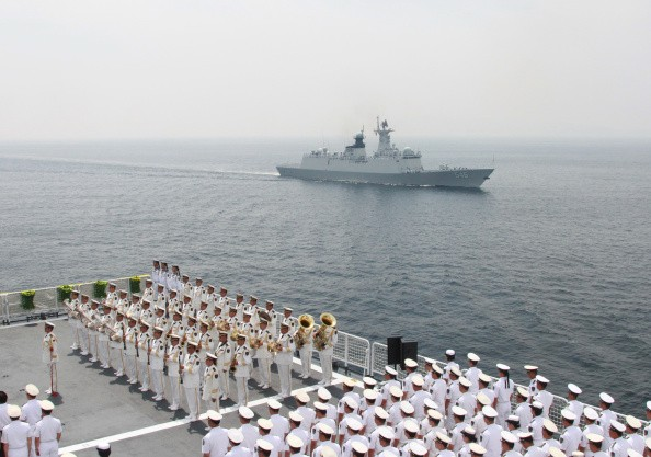 A fleet of three Chinese naval ship left Shanghai on Sunday.