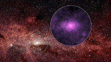 NASA's Nuclear Spectroscopic Telescope Array, or NuSTAR, has captured a new high-energy X-ray view (magenta, Figure 1) of the bustling center of our Milky Way galaxy. The smaller circle shows the area where the NuSTAR image was taken -- the very center of